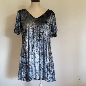 Caramela Crushed Velvet Blue Swing Dress Sz L